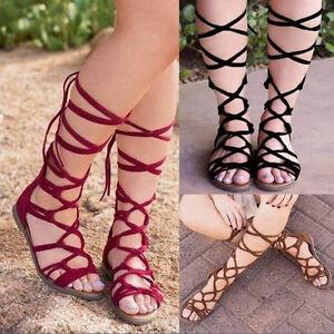 ee0e83cec81 Women s Fashion Knee High Lace Up Leg Wrap Roman Gladiator Flat ...