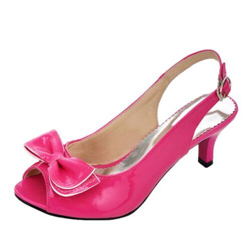 Womens high heels party sandals bow Pumps Block Heel Platform Peep Toe Shoes