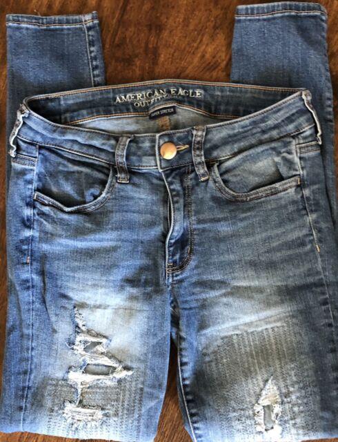 American Eagle Super Stretch Jegging 6 Distressed Denim Jean