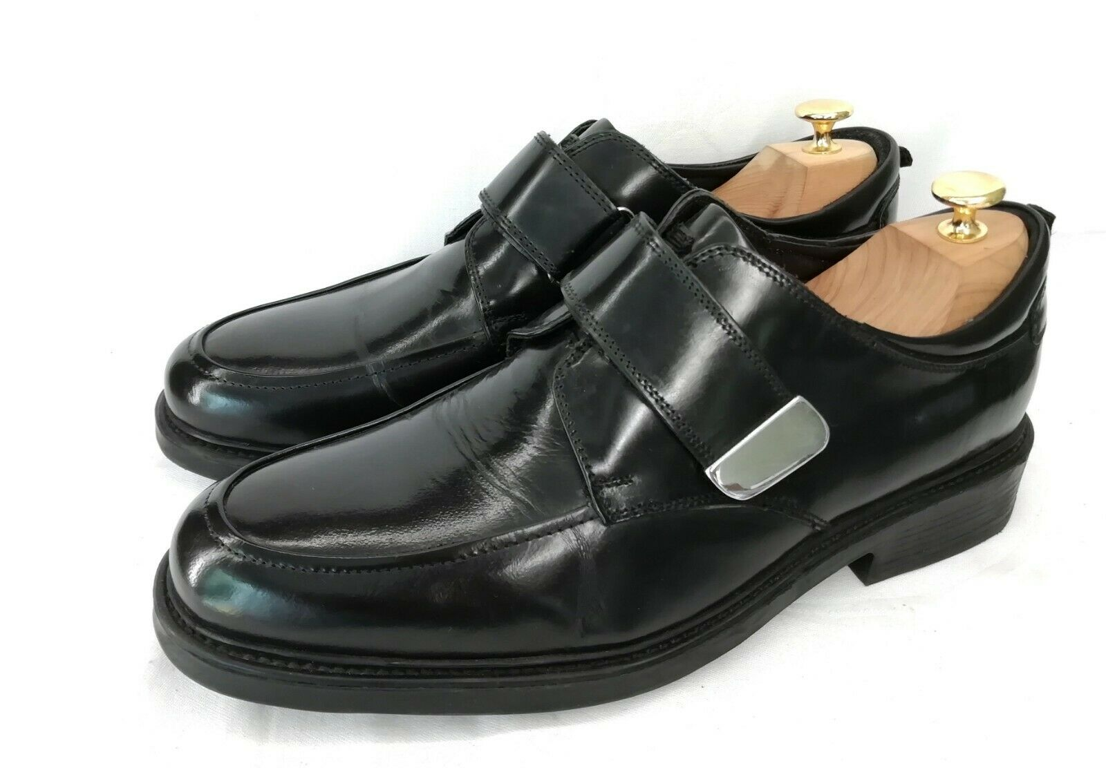 Barisal Business Loafer Herrenschuhe Apron Toe Klettverschluss Schwarz Leder 45