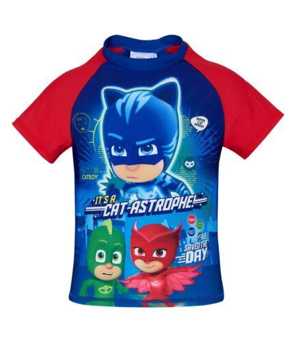 Boys Kids Pj Masks Swim Shirt Top T-shirt with UV protection Age 2-8 years