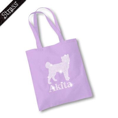 Jutebeutel Beutel Shopper Bag Einkaufstasche Tasche Strass Hund Akita