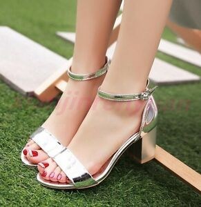 Elegant-Chic-Women-Summer-Block-Heels-Open-Toe-Ankle-Strap-Sandals-Buckle-Shoes
