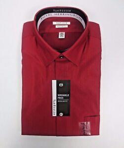 93eee5c6f588 Van Heusen Men's Herringbone Regular Fit Solid Russet Dress Shirt 16 ...