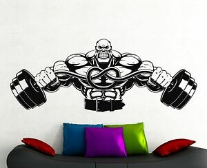 Image Is Loading Bodybuilder Gym Wall Decal Fitness Vinyl Sticker Crossfit