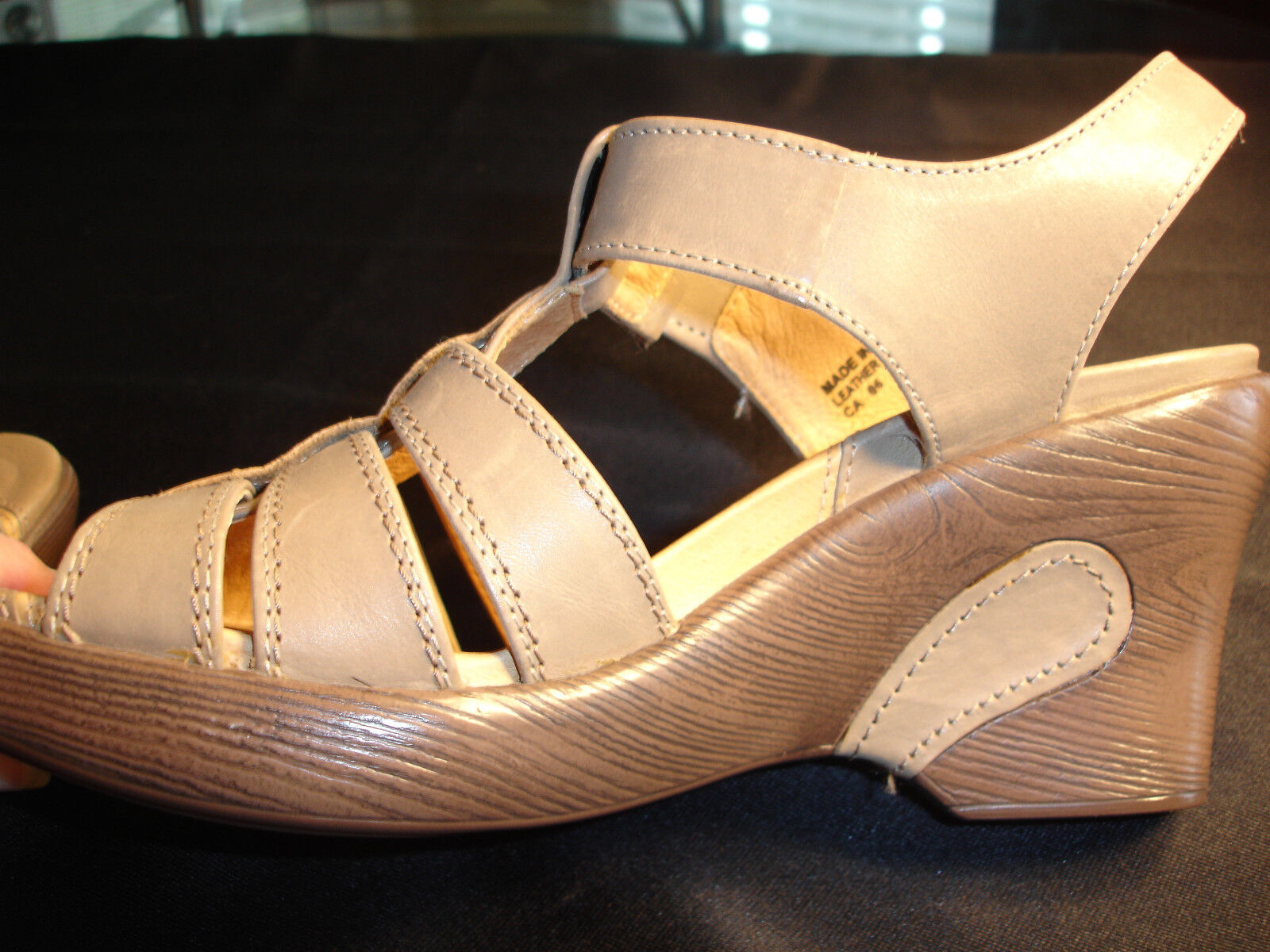SANITA Solid Brown Taupe Leather High Wedge Sandals Sz 9 M Euro 40 NWOB