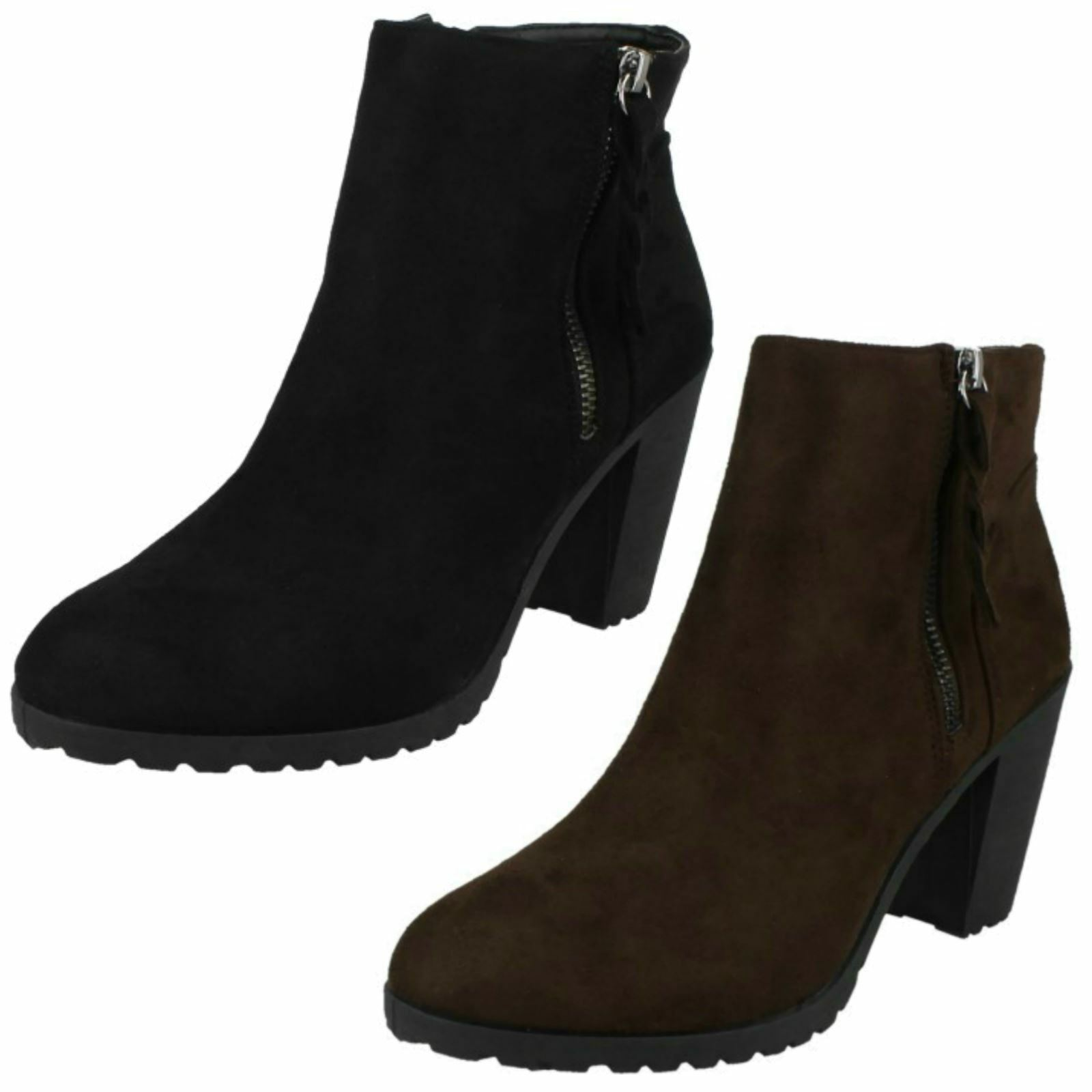 Ladies Spot On Stylish Heeled Ankle Boots F5R0878