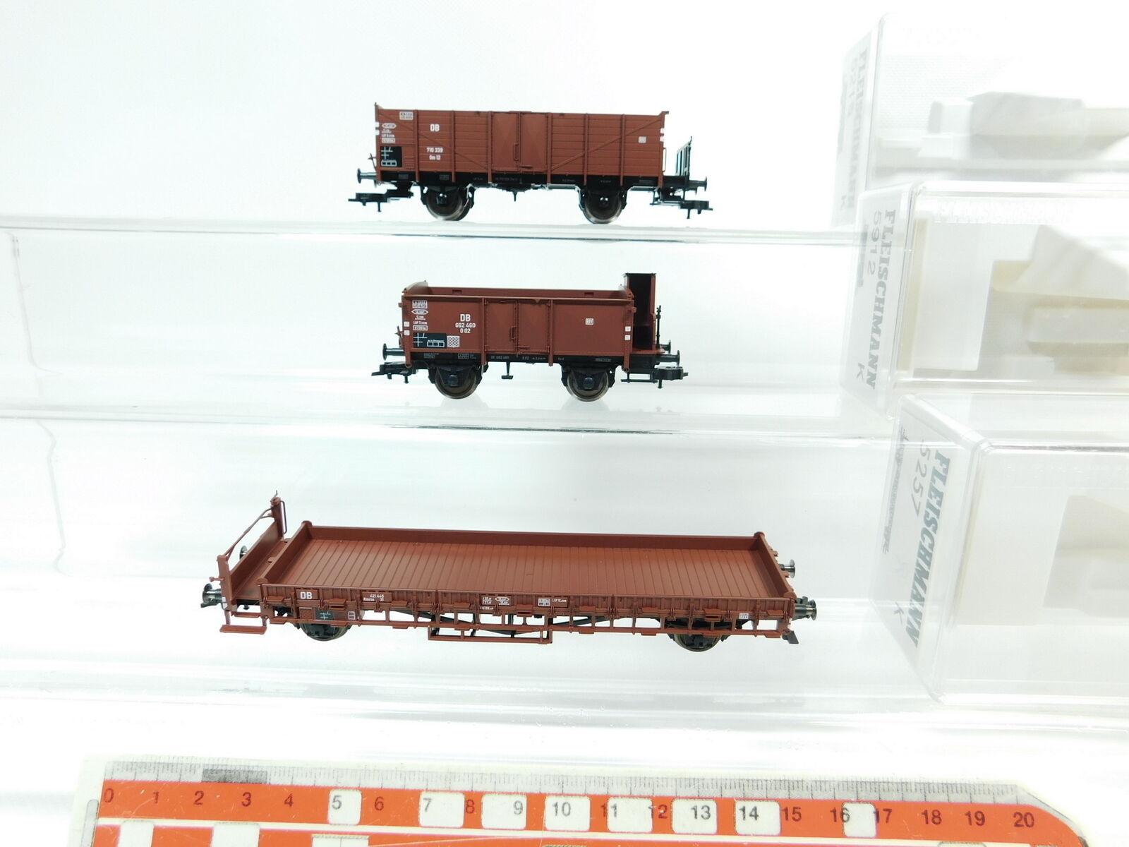 Bf340-0, 5  3x Fleischmann h0/dc carro merci DB NEM: 5219+5912+5257, Neuw + OVP