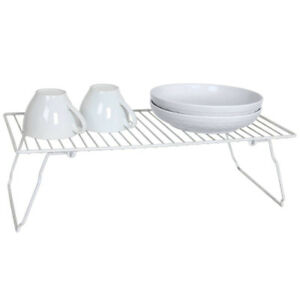 Euro-Ware-Stackable-White-Kitchen-Metal-Wire-Plate-Spice-Organizer-Shelf