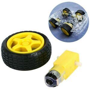 4-Pack-Arduino-Smart-Car-Robot-Plastic-Tire-Wheel-DC-3-6V-Gear-Motor-Parts-DIY