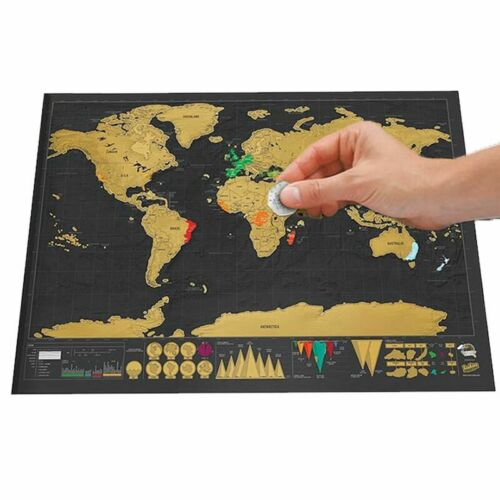 Deluxe Scratch Off World Map Personalized Travel Poster Travel Atlas Decor Gift