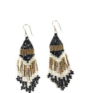 Black and gold beaded chandelier earrings