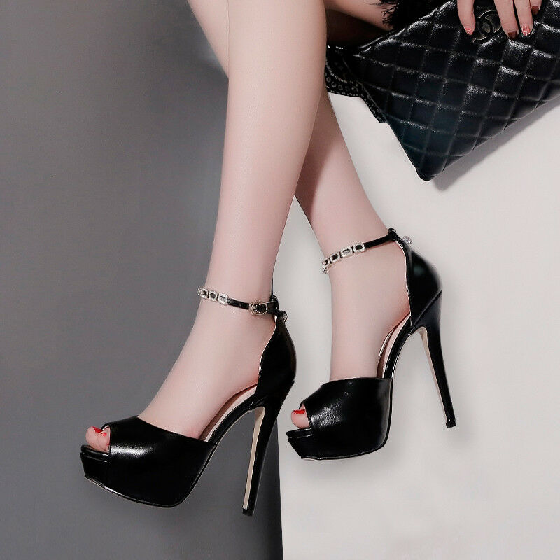 Sandali eleganti sabot stiletto 13 cm tacco negro  pelle sintetica eleganti 9889