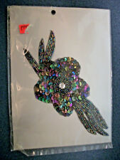 LARGE 7.5 Inch BLACK AND GOLD  DOUBLE SEQUIN BEADED FLOWER APPLIQUE  2731-M