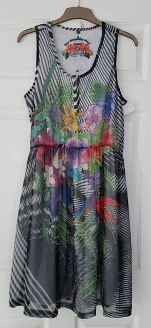 Desigual Black lined mess floral dress size XL 44 UK 12 14 NWT short sleeve boho