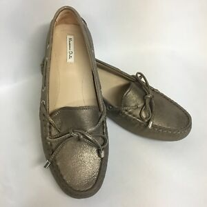 67b6744ef Women s MASSIMO DUTTI Metallic Leather Loafers Driving Shoes Size 36 ...