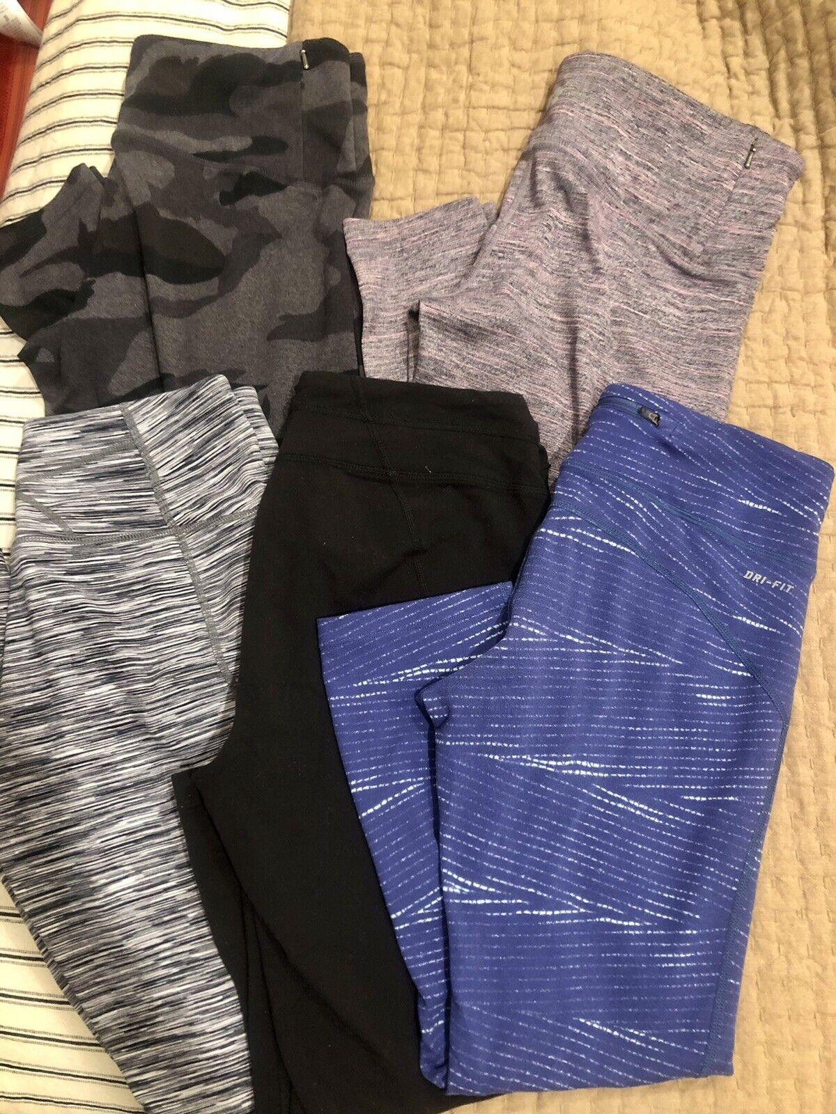 Lot Of 5 Women's Yoga Workout Pants Capri Full Length Zella Nike Medium