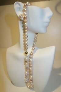 FAST-SHIP-3-DAYS-Cultured-Pearl-Set-14K-Gold-Filled-Clasp-Earrings-Necklace-18-034