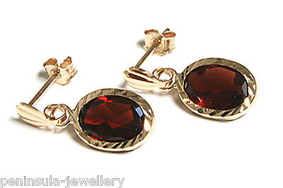 9ct Gold Garnet Drop Earrings Gift Boxed Made in UK