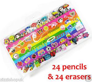 Kids-novelty-pencils-amp-eraser-set-girl-boy-shaped-rubbers-money-party-bag-filler