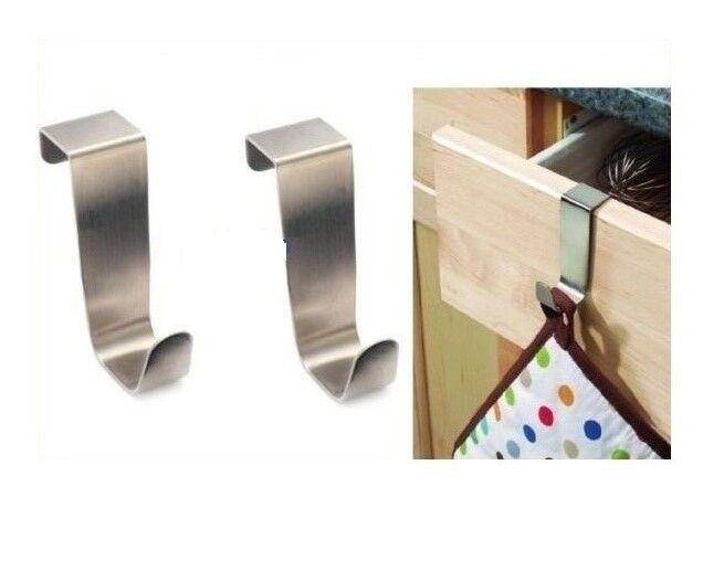 2 x STAINLESS STEEL OVER KITCHEN CABINET DRAW DOOR HOOKS,TOWEL HANGER HOLDER New
