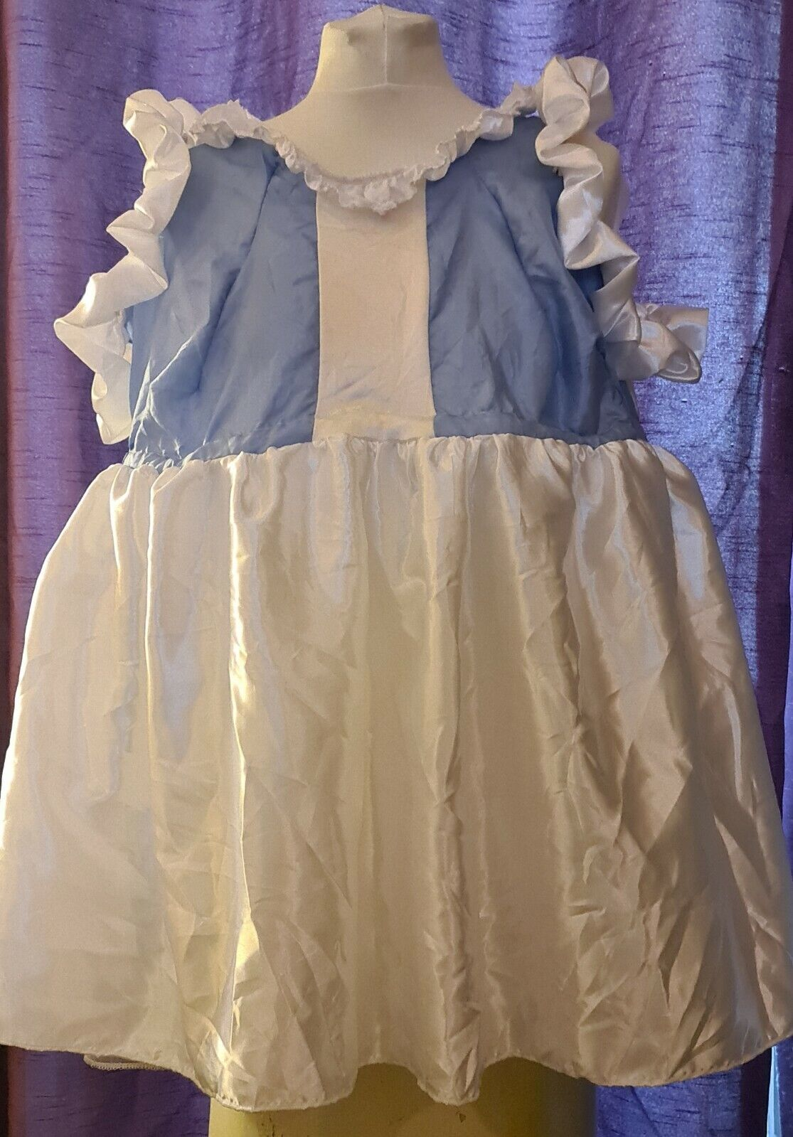 New adult blue white sissy maid sized baby style dress nappy diaper satin ddlg