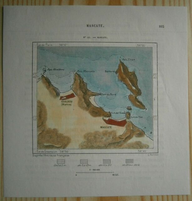 1884 Perron map MUSCAT, OMAN (#161)