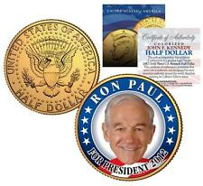 "RON PAUL ""For President 2012"" 24K Gold Plated U.S. Mint JFK Kennedy Half Dollar"