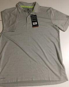 Free-Country-Men-039-s-Size-Small-Gray-Short-Sleeve-Polo-Shirt-Micro-Tech-Polyester