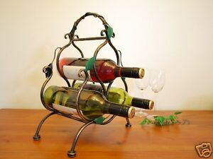Wrought-Iron-French-Vintage-Swirly-Vine-Wine-Bottle-Rack-Stand