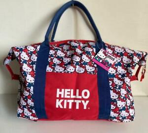 NEW-HELLO-KITTY-RED-WHITE-AND-BLUE-OVERNIGHTER-DUFFLE-DUFFEL-TRAVEL-BAG-SALE