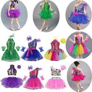 Girls-Sequin-Ballet-Dance-Dress-Gymnastic-Leotard-Ballerina-Tutu-Skirt-Costume