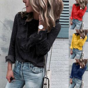 Women-Ladies-Autumn-Casual-Lace-Polka-Dot-O-Neck-T-shirt-Long-Sleeve-Tops-Blouse