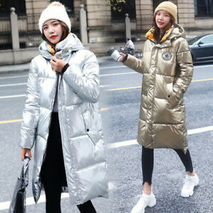 Winter Women Silver Down Hooded Puffer Jacket Windproof Long Quilted Coats Parka
