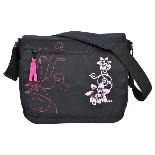 Umhängetasche Messenger Bag KEANU Hibiskus FLOWERS Notebooktasche Tasche Schwarz