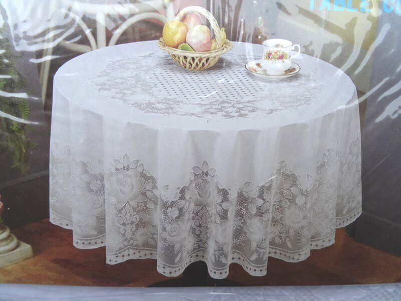 59 1 8in 216 Round White Vinyl Tablecloth Sheet Floral Motif