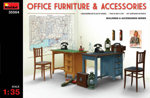 Office Forniture /& Accessories Set Plastic Kit 1:35 Model MINIART