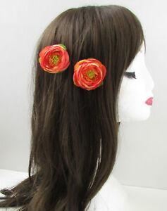 2x Korallen-orange Hahnenfuß Teerose Blume Haarklammern Klein Brautjungfer Vtg Damen-accessoires