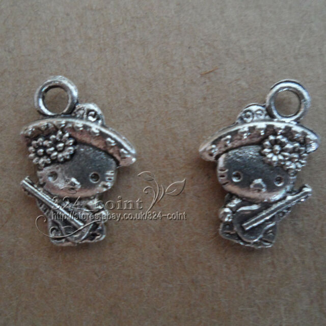 P092 20pcs Tibetan Silver Beads Charms Lovely cat retro Accessories Wholesale