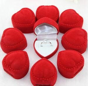 10x-Velvet-Heart-Ring-Show-Display-Box-Jewellery-Earring-Brooch-Storage-Case-CSH