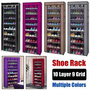 10-Layer-Portable-Fabric-Shoe-Rack-Shelf-Storage-Closet-Organizer-Dust-Cover-US