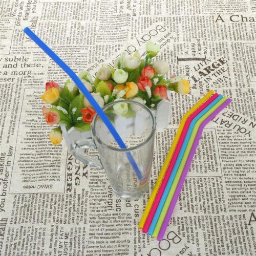 6pcs Réutilisable Pailles silicone Cocktail Pailles avec 1pc de nettoyage Brus SG
