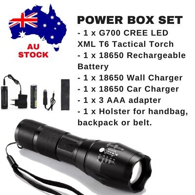 COMPLETE POWERFUL CREE LED Tactical Torch 18650 Battery Car Wall Charger