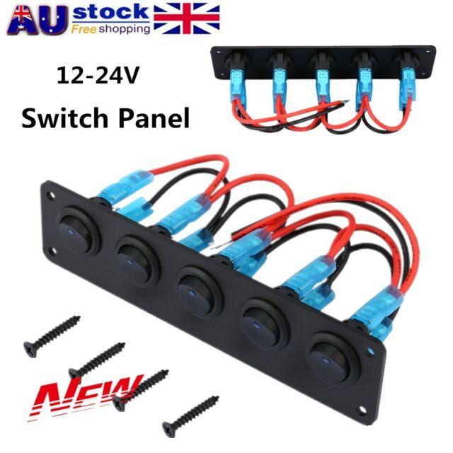 Switch Panel 12-24V ON-OFF Toggle 5 GANG Blue LED Rocker for Car Boat Marine 4O
