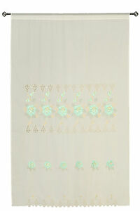 Mint Green Transparent Decor Embroidery Shade Sheer Window Curtain Drapes 60x90""