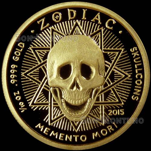 CANCER #6 SkullCoins 2015 ZODIAC Memento Mori 1//10 Oz .9999 GOLD Mintage of 99