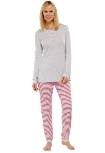 SCHIESSER Damen Schlafanzug lang 100/% CO 38 40 42 44 46 48 50 52 Pyjama M-6XL