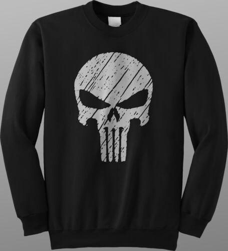 The Punisher Skull Screen Printed Sweatshirt Jumper Pullover Comic Logo Gym