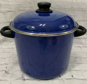 Vintage Megaware Cookware Blue Enamel Covered Pot 9 Qt Made in Spain Stock Pot
