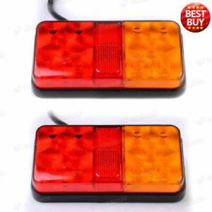 Pair-12V-Rear-Stop-10-LED-Lights-Tail-Indicator-Lamp-Trailer-Truck-Van-Lorry